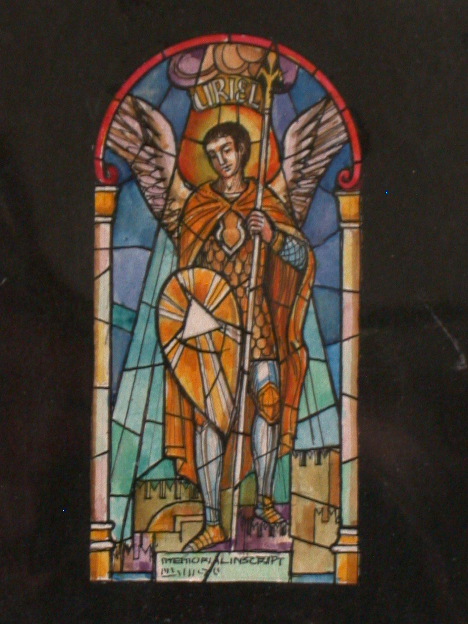 1536x2048 Design Drawing For Stained Glass Window Showing Archangel Uriel