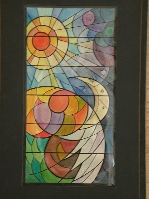 480x640 Design Drawing For Stained Glass Window With Abstracted Sun, Moon