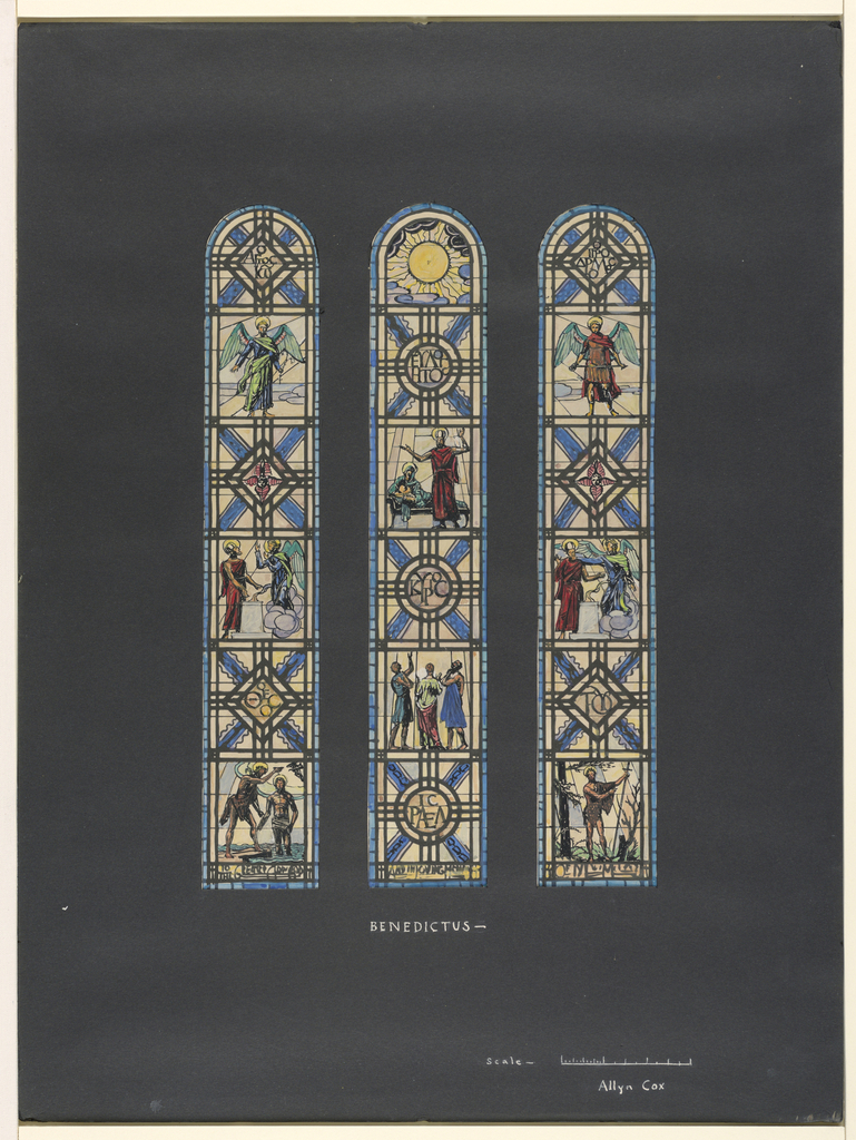769x1024 Drawing, 3 Studies For Stained Glass Window Benedictus