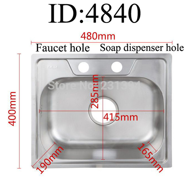 640x608 480400190mm 304 Stainless Steel Drawing Kitchen Sink Single Bowl