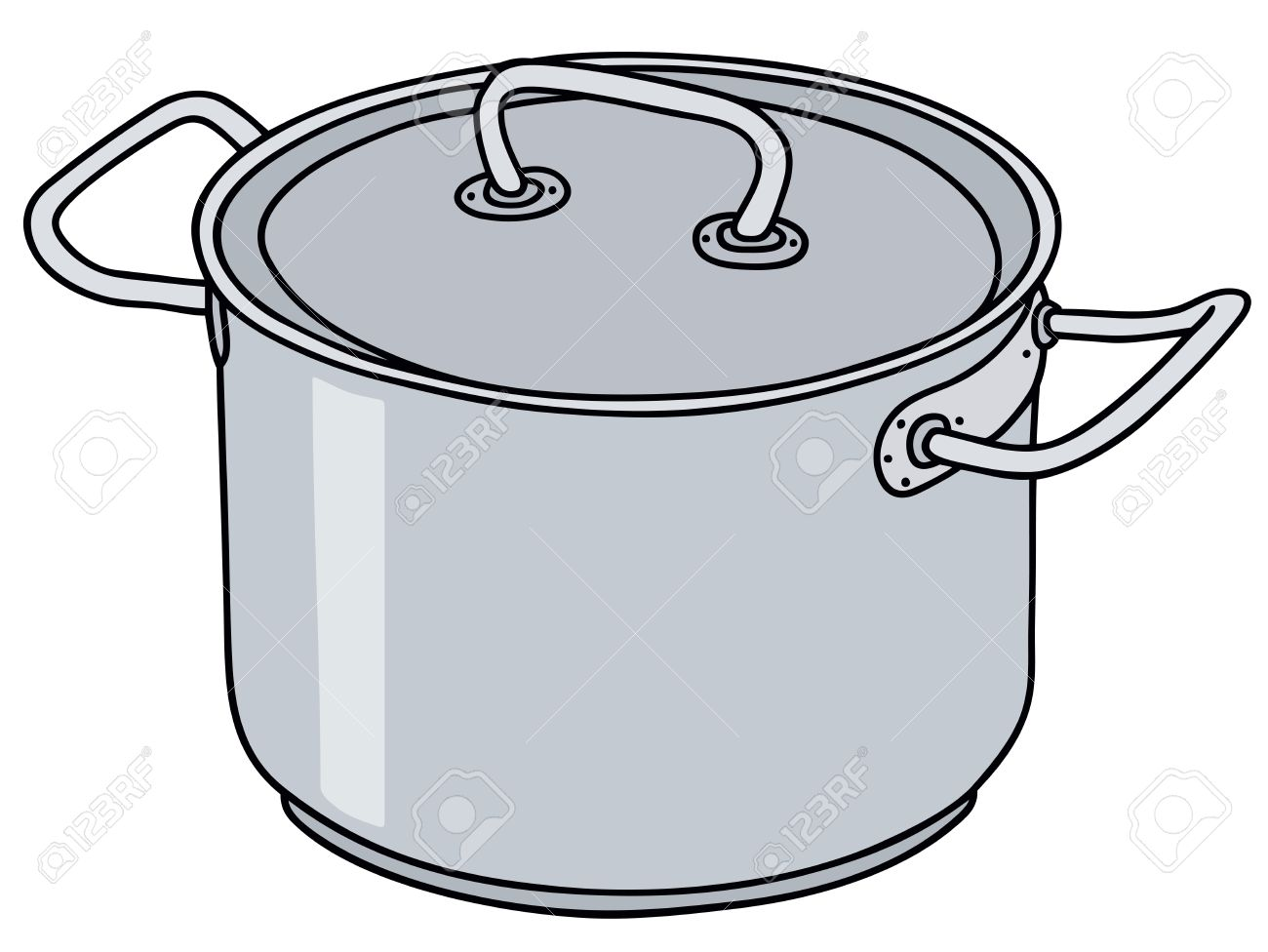 1300x976 Hand Drawing Of A Stainless Steel Pot Royalty Free Cliparts