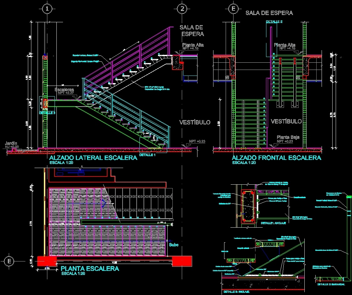 1123x941 Steel Staircase With Metal Staircase Details Dwg Detail