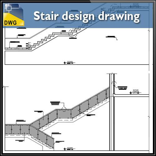 500x500 Free Detail Drawing Of Stair Design Drawing Cad Design Free