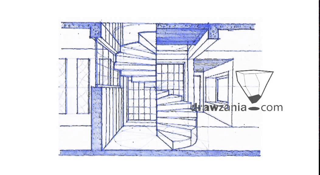 1052x576 Perspective Drawing 125 Draw Spiral Staircase