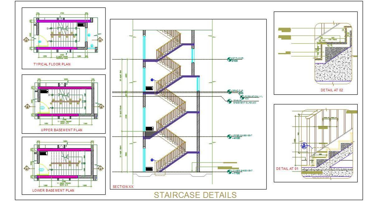 1207x645 Staircase Design Working Drawing Plan N Design
