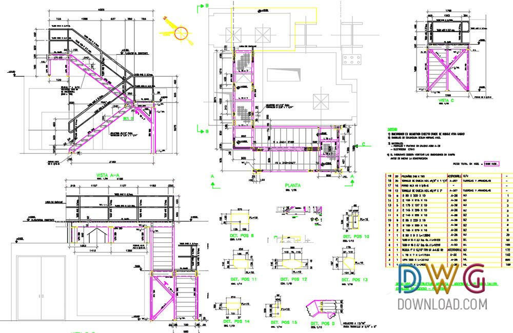 1000x650 Metallic Stairs Dwg Drawing Stairs, Stairs Details Dwg, Stairs Dwg