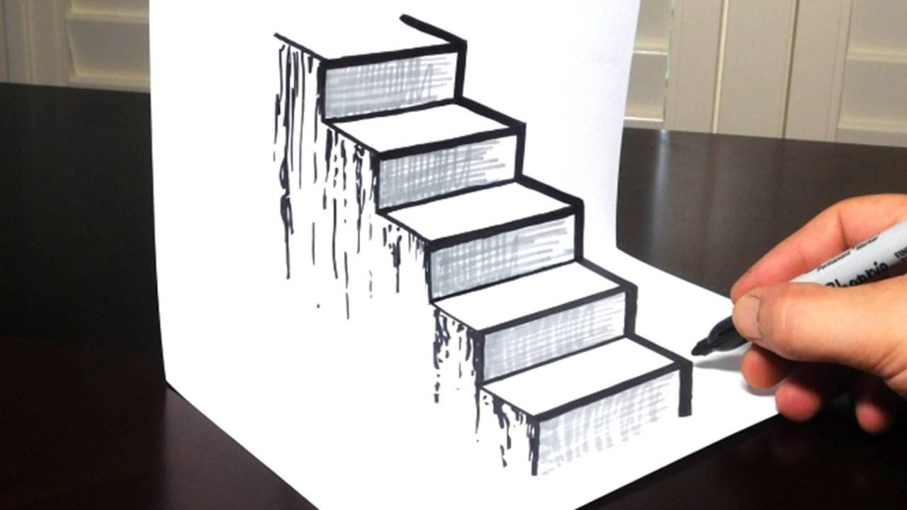 1280x720 How To Draw A 3d Staircase