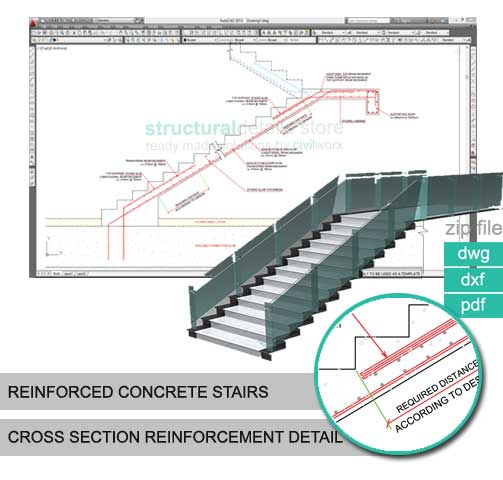 503x480 Reinforced Concrete Stairs Cross Section Reinforcement Detail