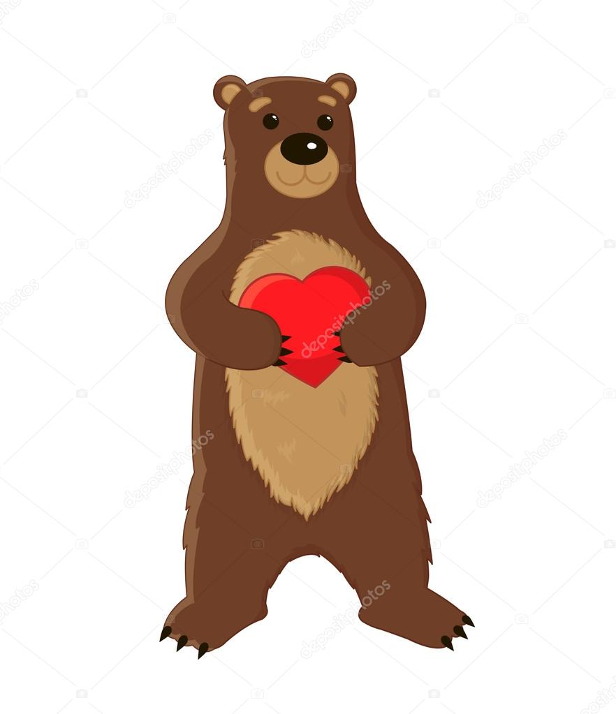882x1023 Cute Big Brown Bear Standing On Its Hind Legs And Keeps The Heart
