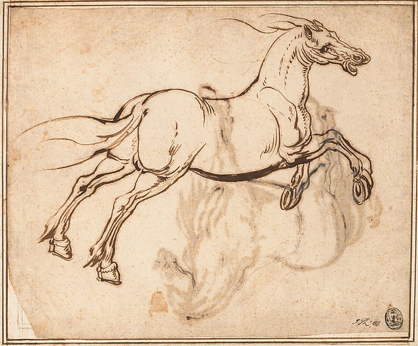 599x495 Jacques Callot Study Of A Horse (Recto) Study Of A Standing