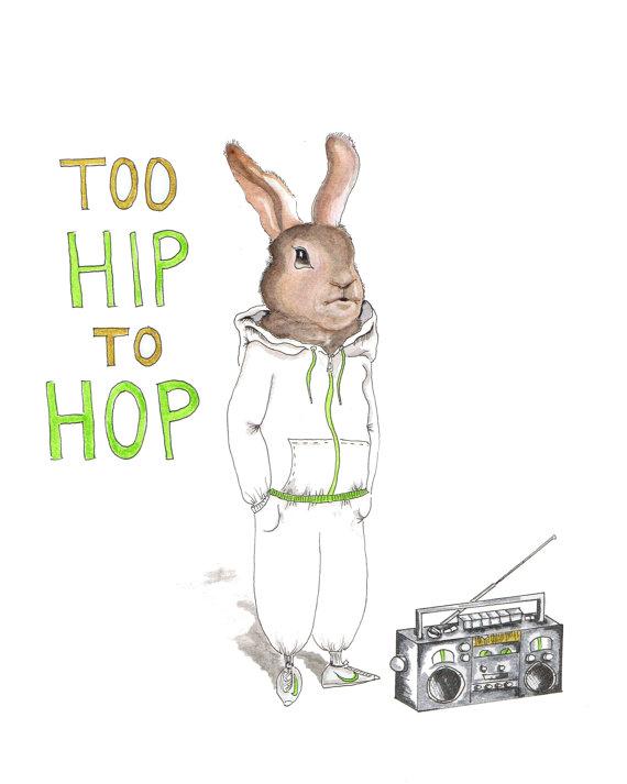 570x713 Bunny Rabbit Watercolor Print, Hip Hop Bun, Animals In Casual Wear