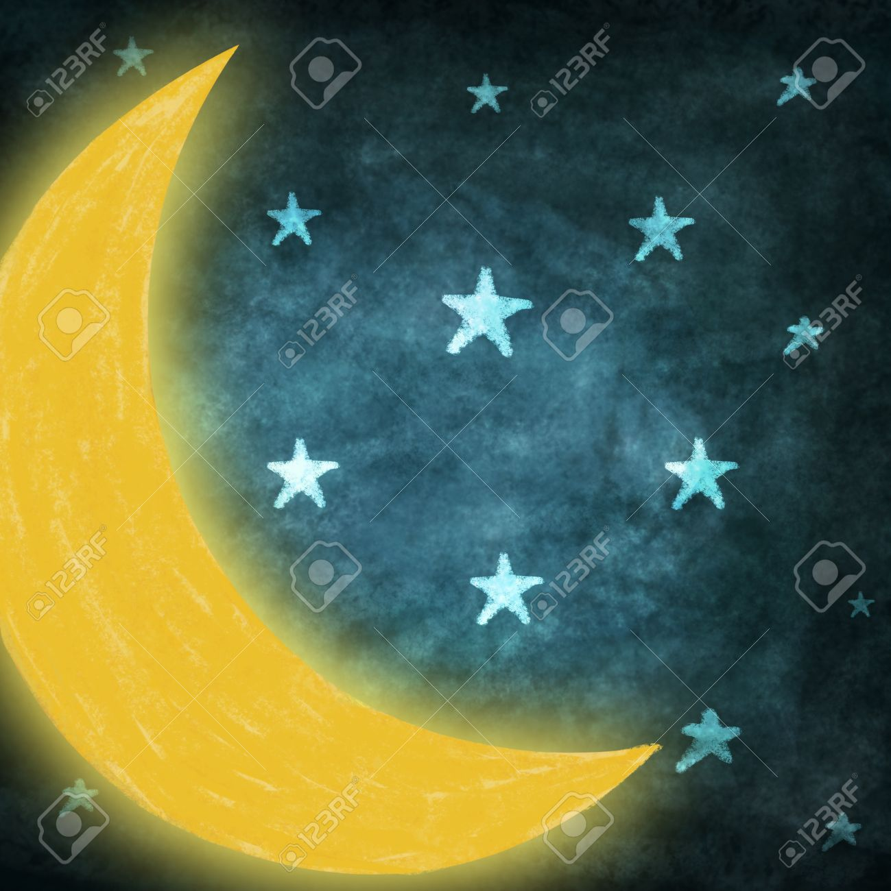 1299x1300 Night Time With Stars Moon Drawing Stock Photo, Picture