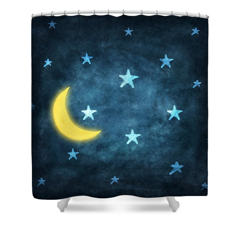 800x800 Stars And Moon Drawing With Chalk Shower Curtain For Sale By