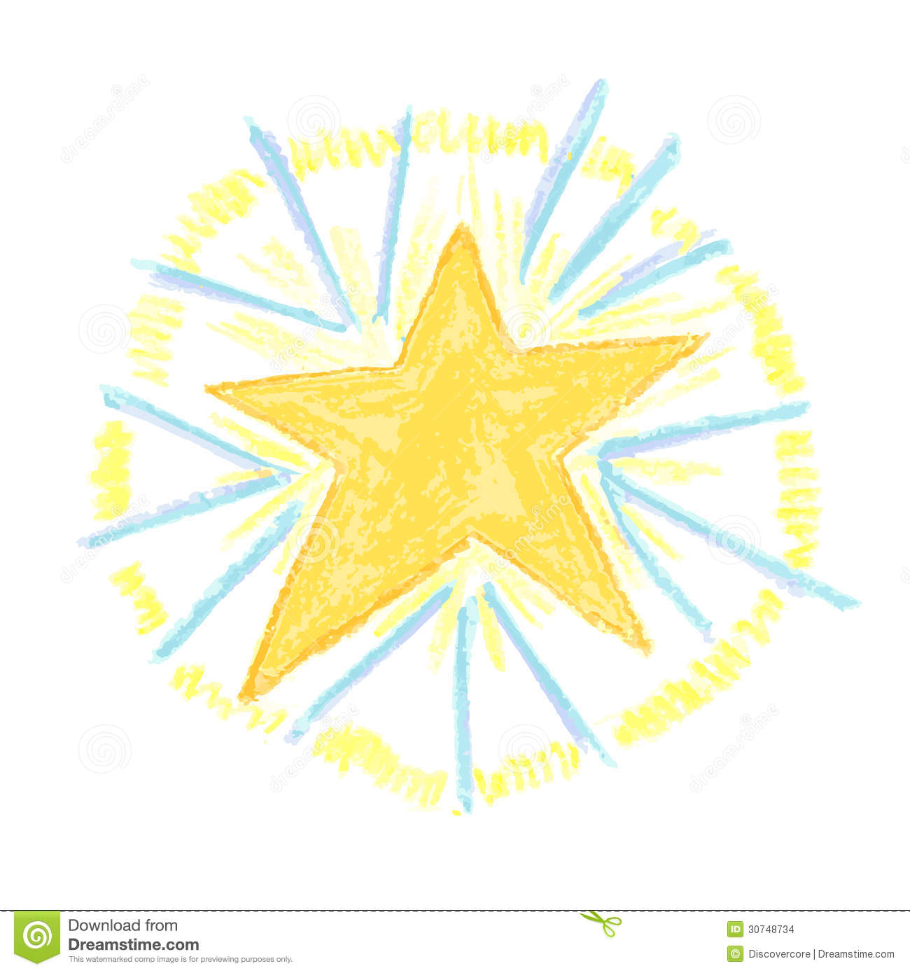 1300x1390 Light Airy And Fun Hand Drawn Star Burst With Crayon