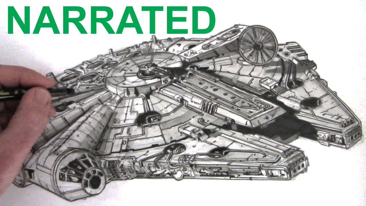 1280x720 How To Draw The Star Wars Millennium Falcon Narrated