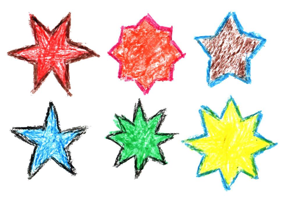 1000x690 6 Crayon Star Drawing (Png Transparent)