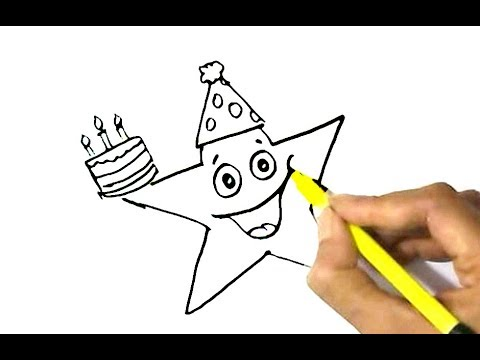 480x360 How To Draw Happy Star With Birthday Cake Easy Step By Step