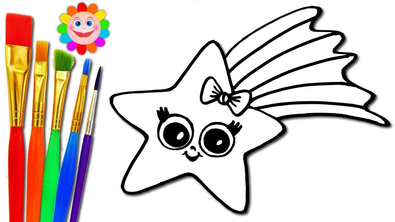 1280x720 How To Draw A Baby Star Coloring Page For Kids To Learn Painting