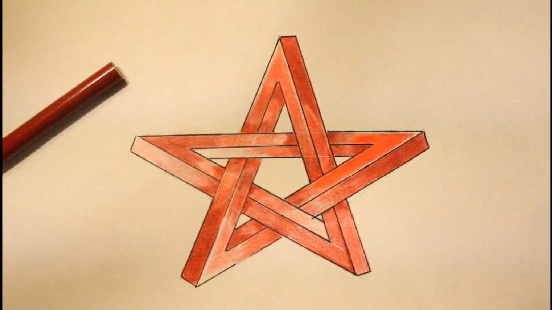 1920x1080 3d Star Shape Drawing On Paper How To Draw An Impossible Star Step