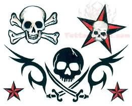 262x211 Pirate Skull And Nautical Star Tattoo Design Fave Tattoos