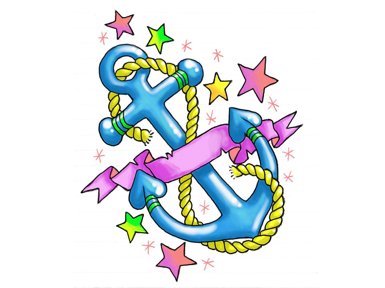 1280x960 Girly Anchor With Stars And Hearts Tattoo Design.jpg