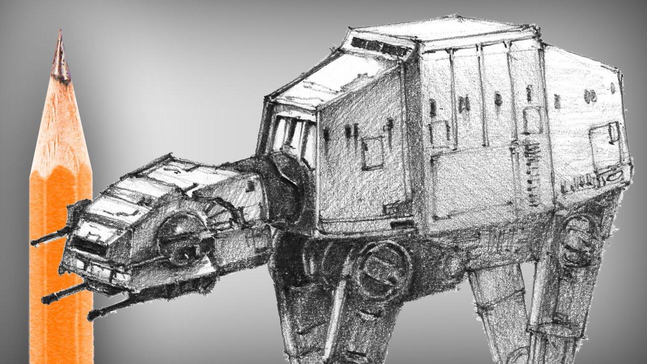 1280x720 Star Wars At At Pencil Drawing
