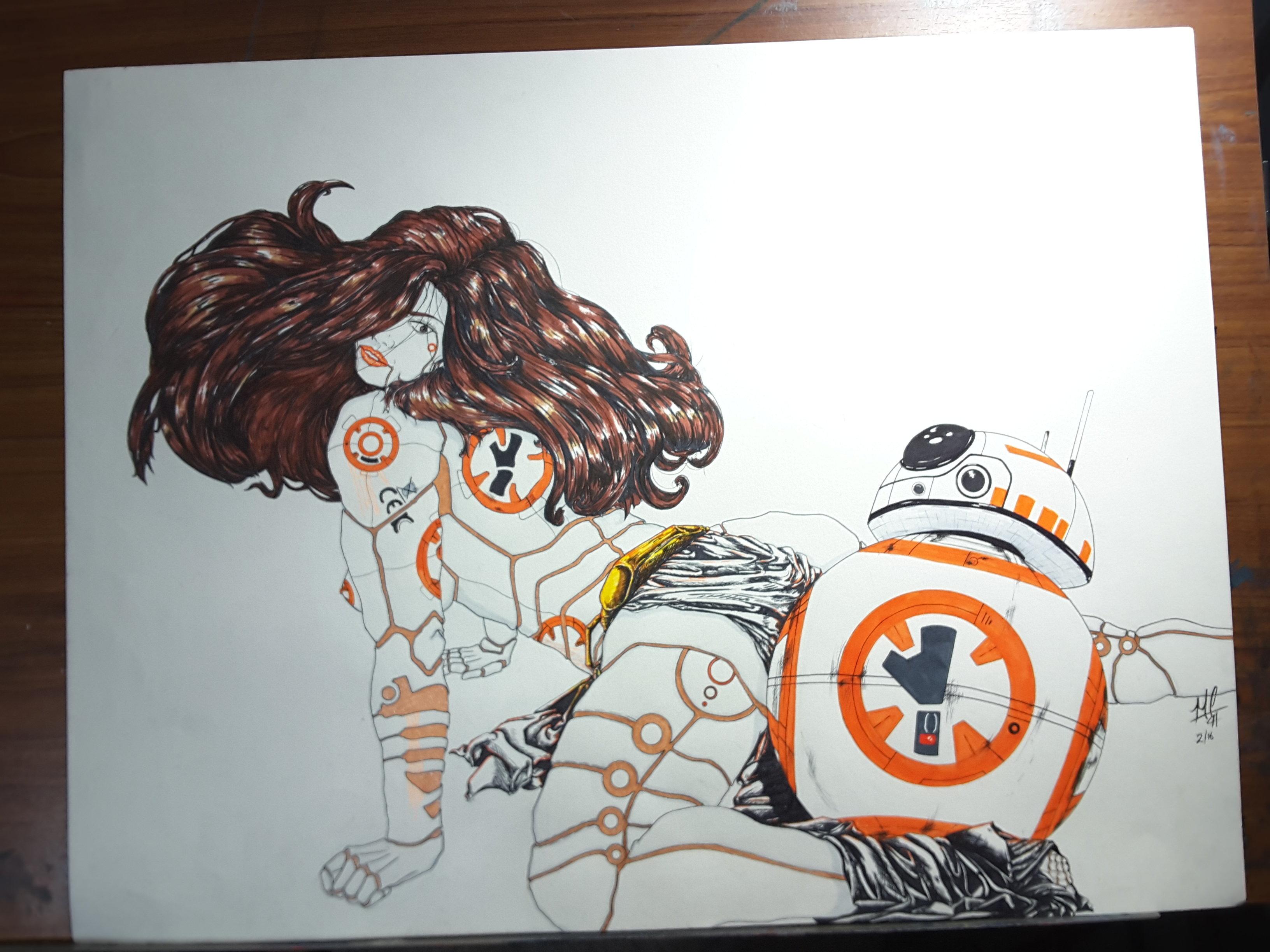 3264x2448 Star Wars Bb 8 Cyborg Drawing