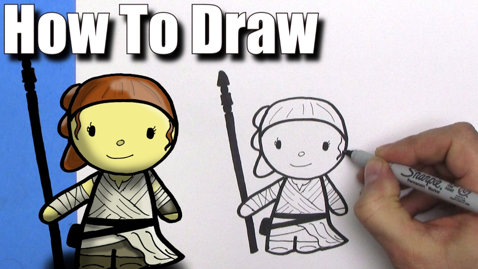 1920x1080 How To Draw A Cute Cartoon Rey From Star Wars