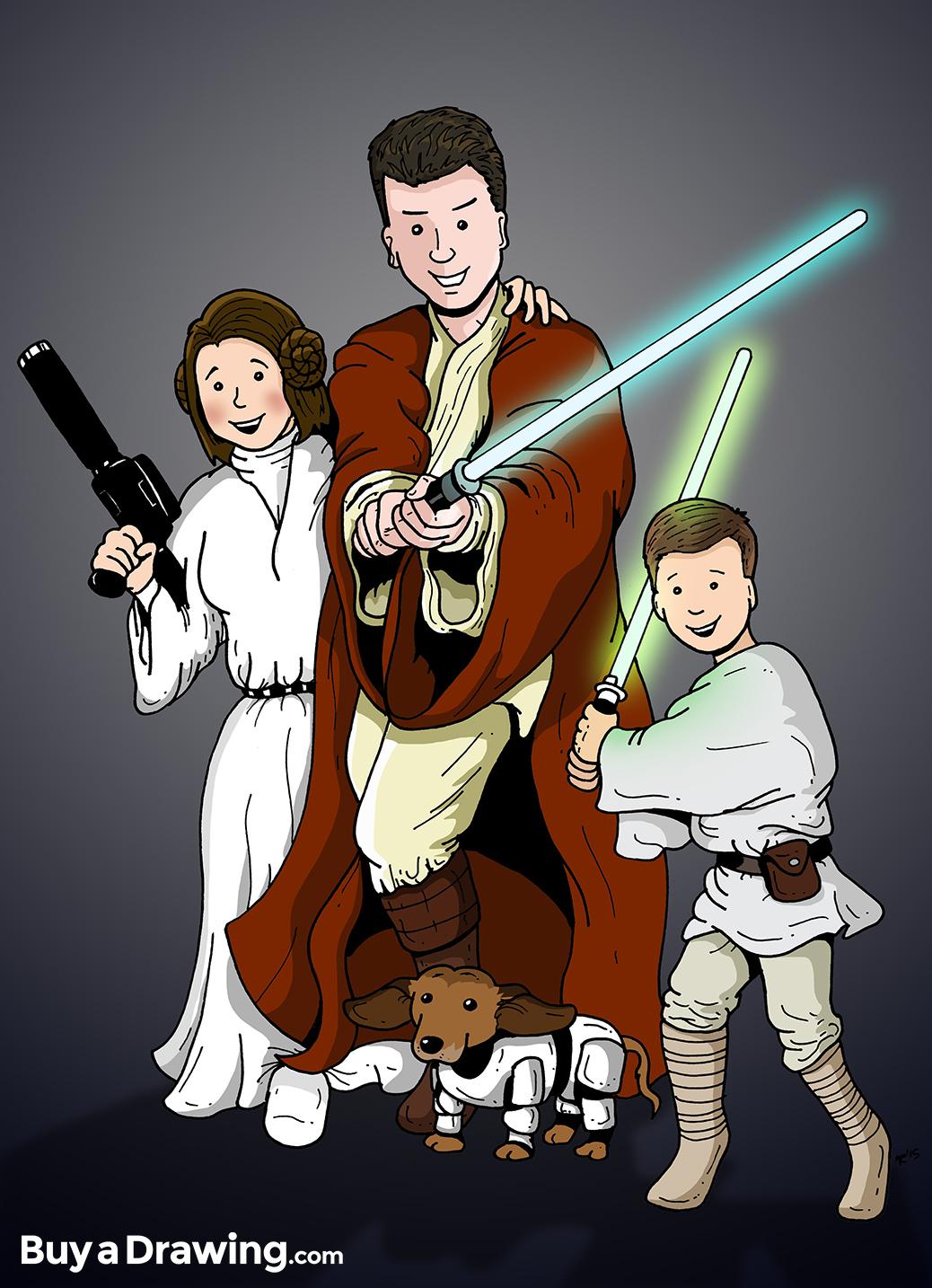 1038x1434 Star Wars Cartoon Family Portrait Drawing