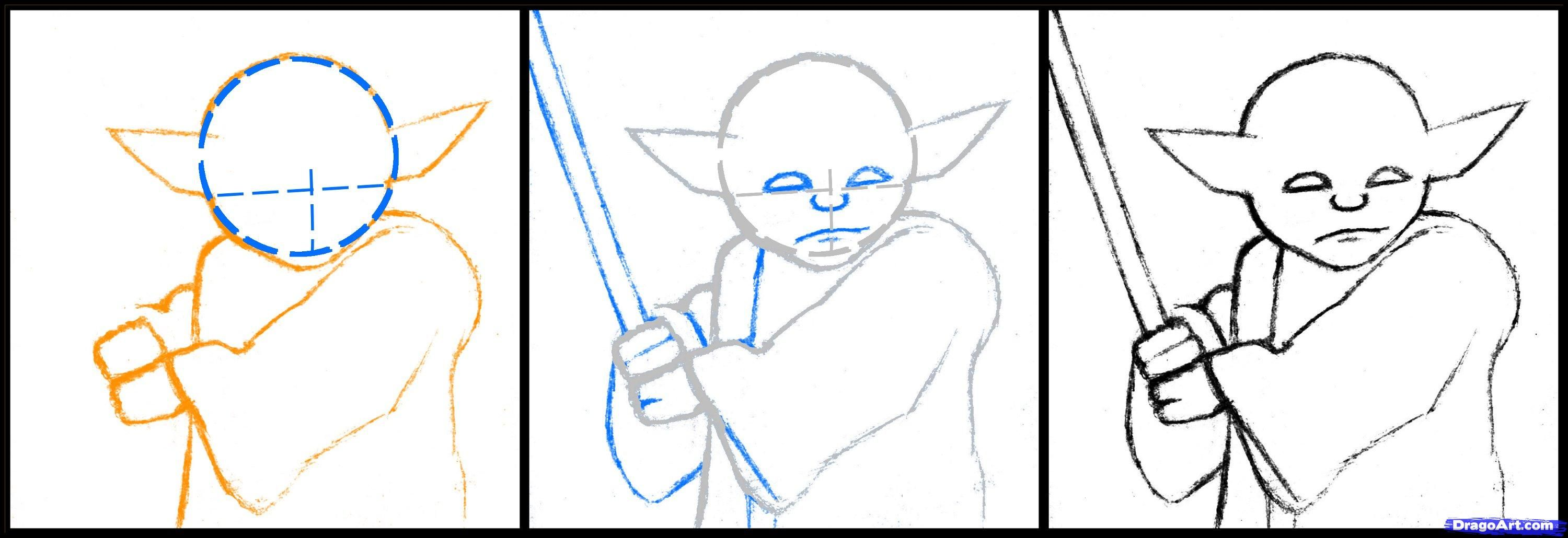 3000x1030 How To Draw Master Yoda, Star Wars, Step By Step, Star Wars