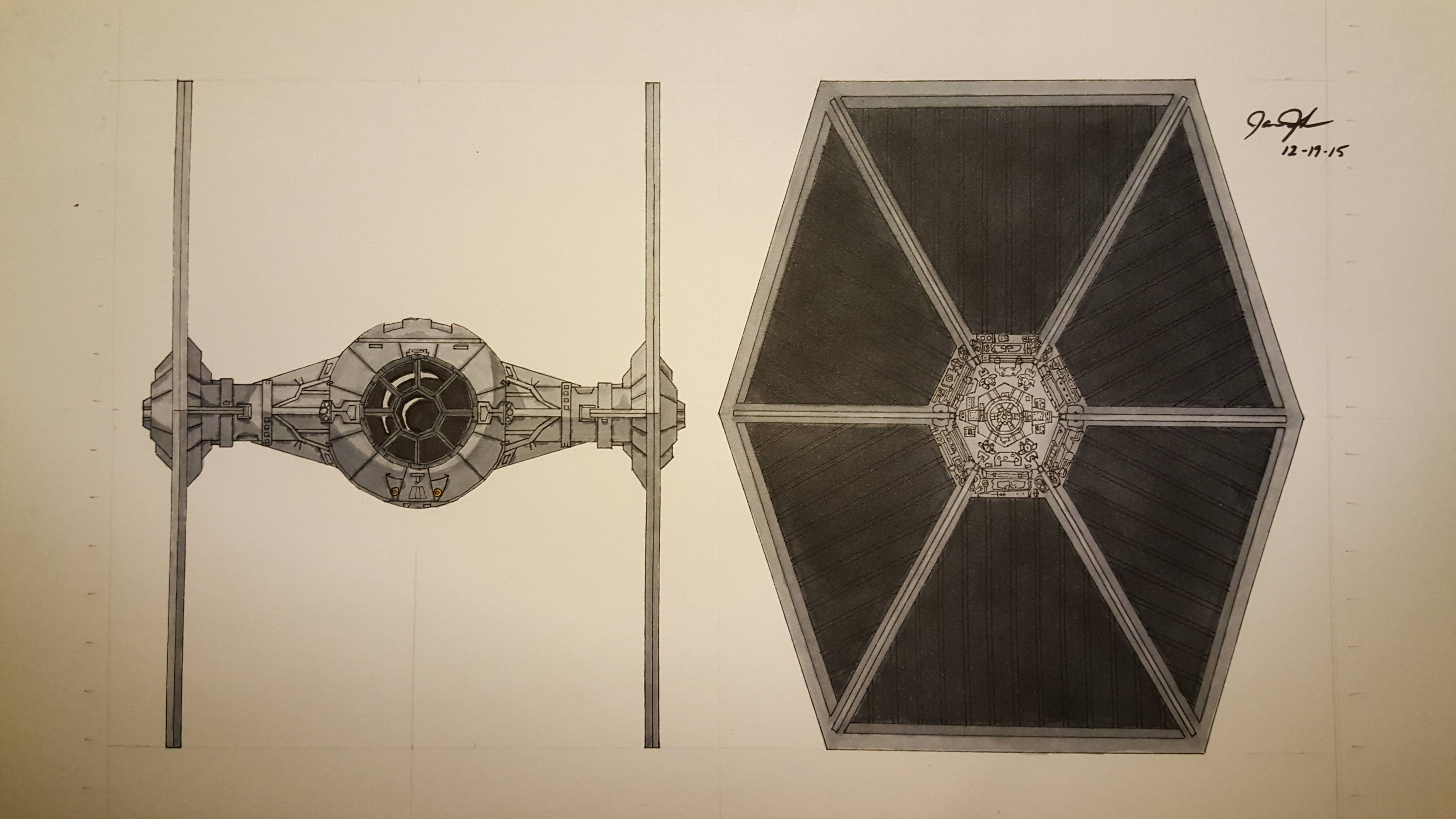 5312x2988 Hey Guys, My Tie Fighter Drawing Is Done! All Colored In! Starwars