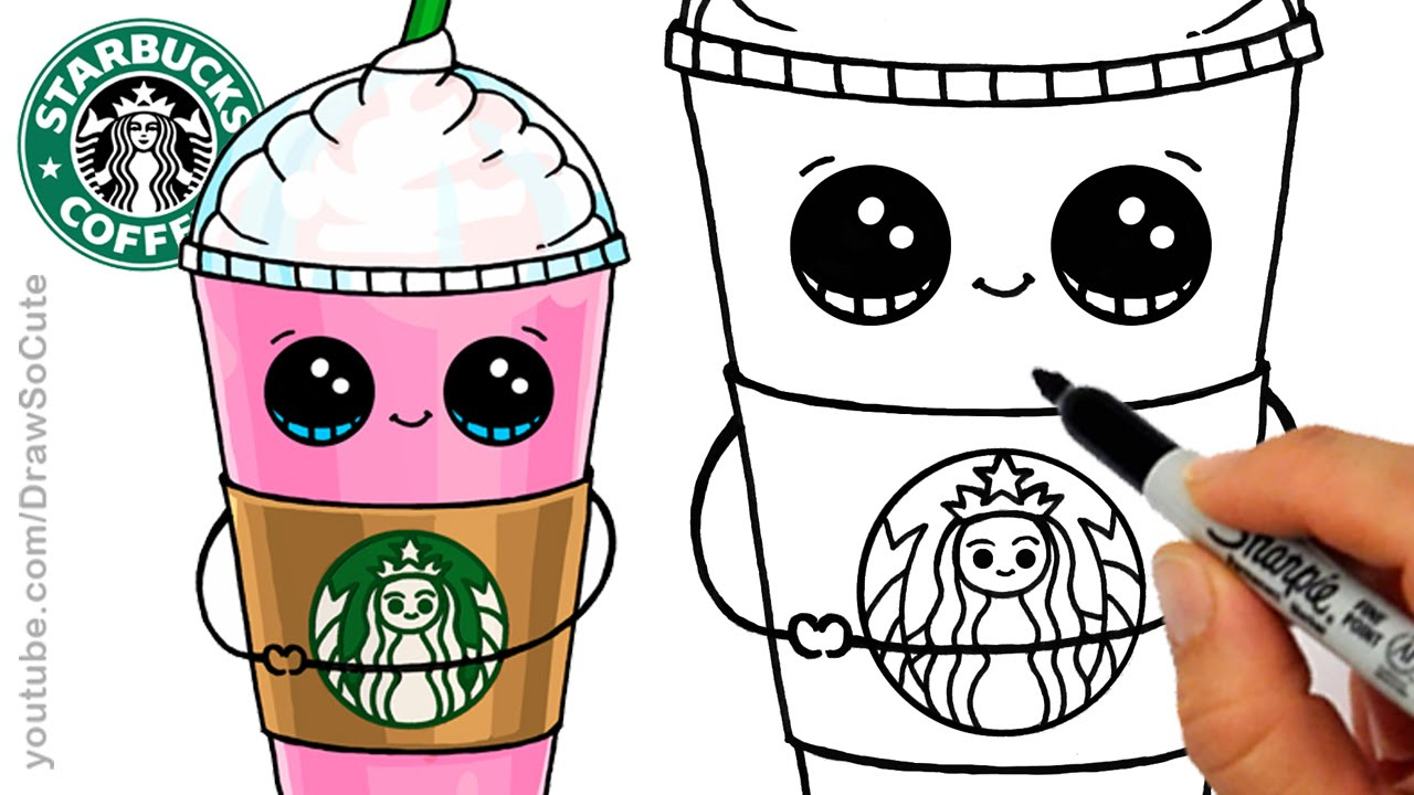 1280x720 Cute Cartoon Drawing How To Draw A Starbucks Frappuccino Cute Step