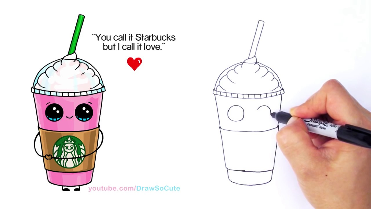 1280x720 How To Draw A Starbucks Frappuccino Cute Step By Step Cartoon