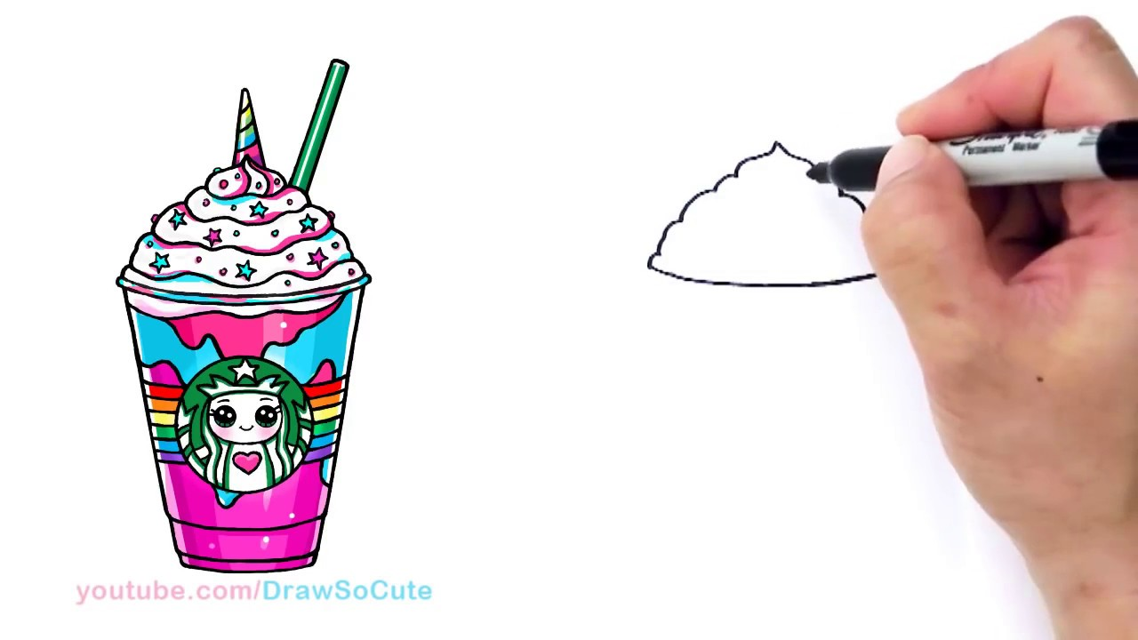 1280x720 How To Draw A Starbucks Unicorn Frappuccino
