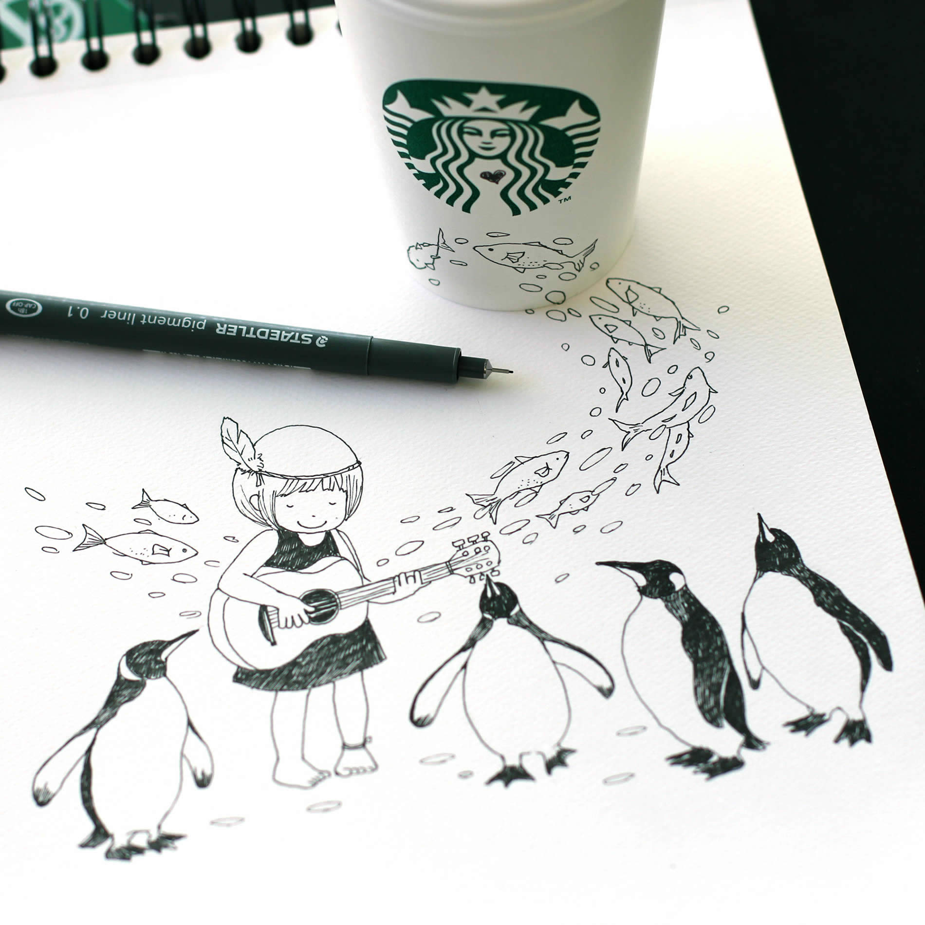 1900x1900 Tomoko Shintani's New Drawings On Starbucks Cups Scene360