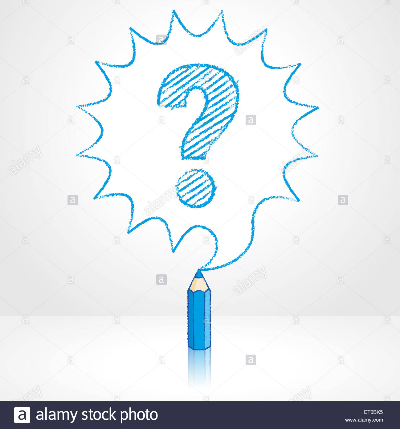 1298x1390 Blue Pencil With Reflection Drawing Question Mark In Rounded Stock