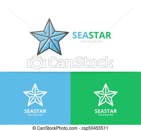 450x419 Vector Of Starfish Logo. Unique Star And Seafood Logotype