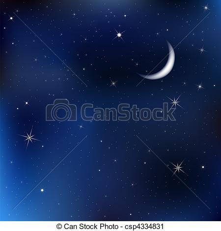 450x470 Night Sky With Moon Stars. Dark Blue Sky With Stars