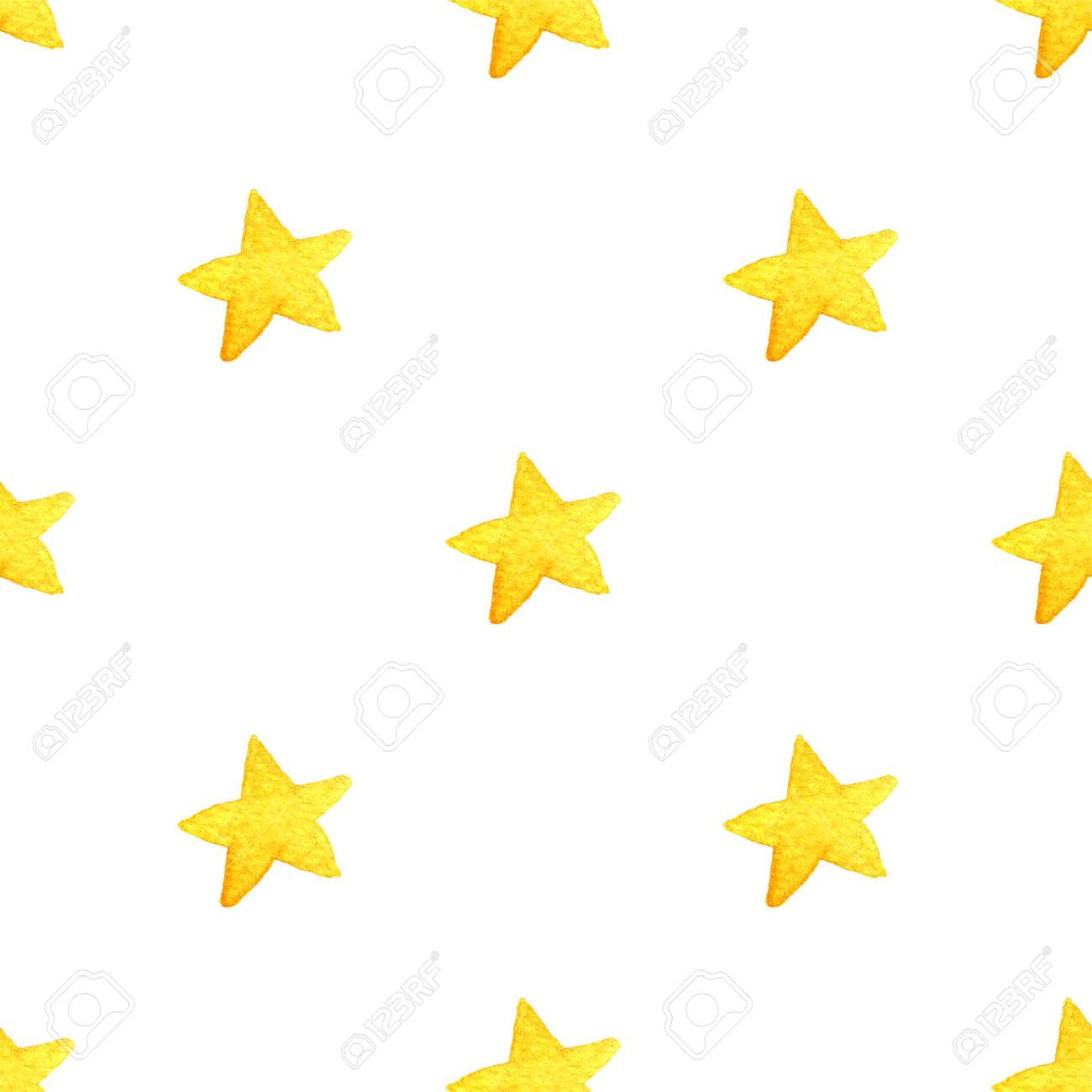 1300x1300 Yellow Watercolor Stars Background Isolated On White Background