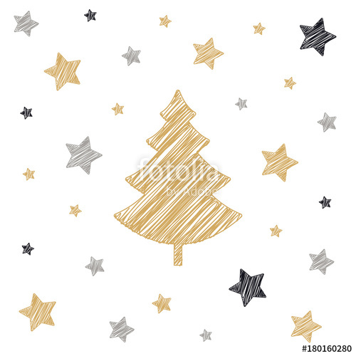 500x500 Christmas Tree Stars Scribble Card Drawing White Background Stock