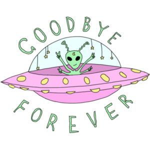 300x300 Goodbye Drawing Art Cute Forever Hipster Typography Design Green