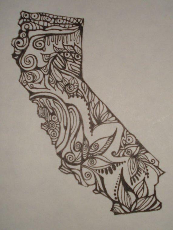570x759 California Outline W Design Interiororiginal Drawing By Alliart