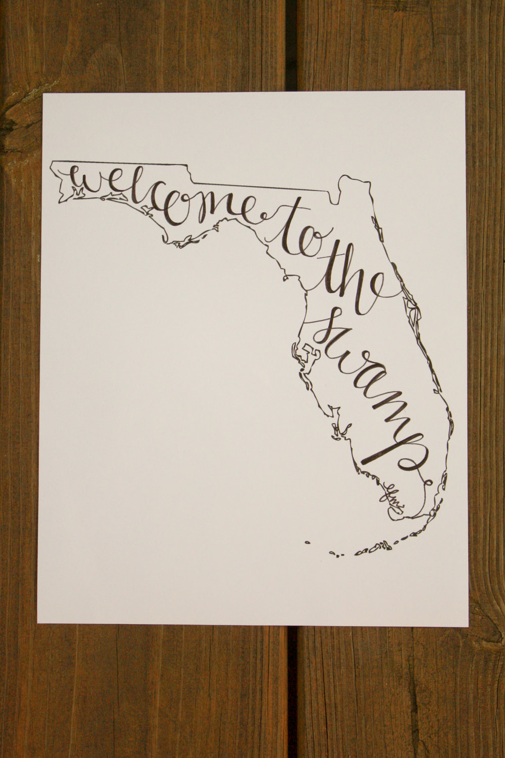 1000x1500 Florida Hand Lettered Calligraphy State Outline Print