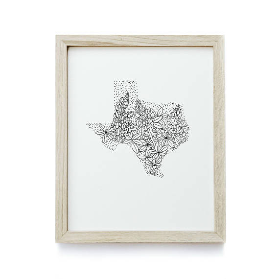570x570 Texas Bluebonnet State Flower Drawing Giclee Print