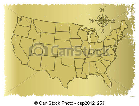 450x343 Old United States Of America Map. An Outline Map Of Clipart