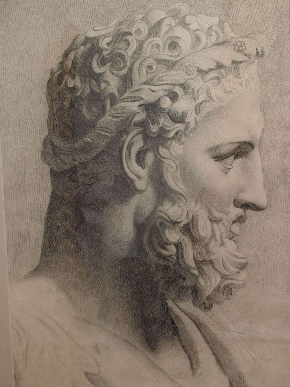 960x1280 19th Century Black Chalk Drawing Of Classical Statue