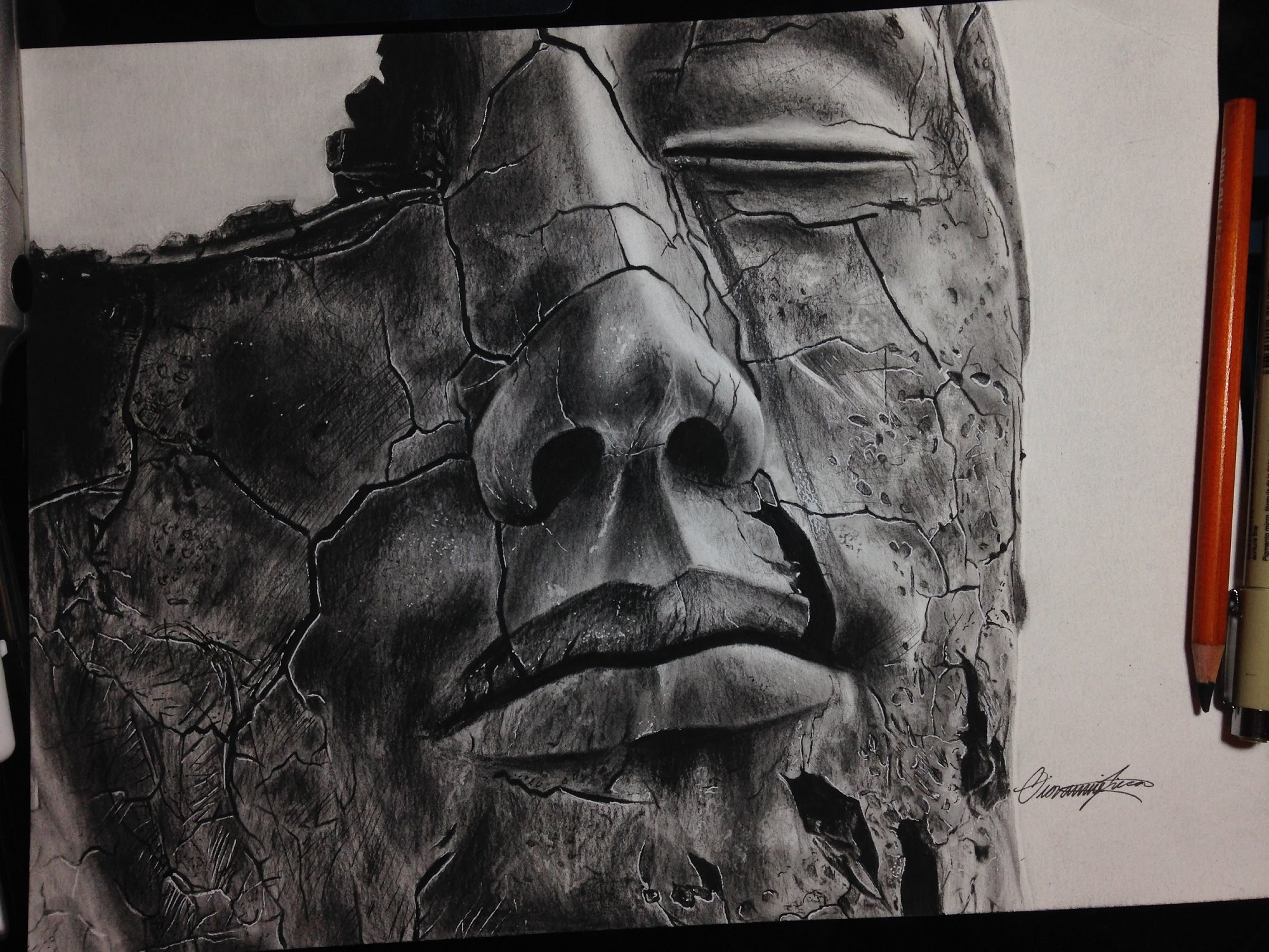 2000x1500 Broken Realistic Statue Drawing Timelapse