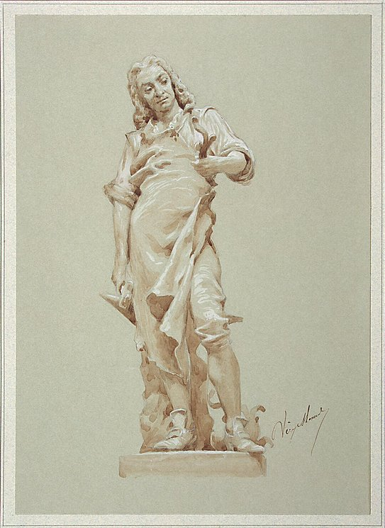 543x745 Drawing Of A Statue Of A Smith