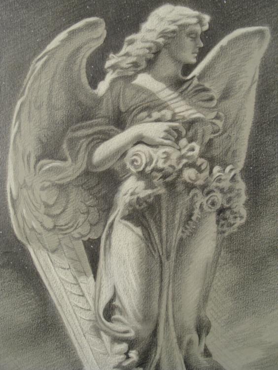 564x750 Original Drawing Angel Statue Randall Signed, Framed