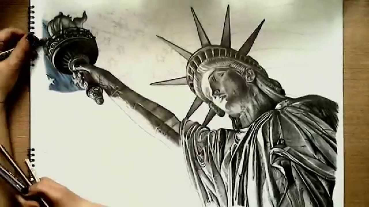 1280x720 Realistic Drawing Statue Of Liberty
